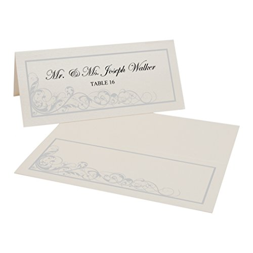 Scribble Vintage Swirl Easy Print Place Cards, Champagne, Silver, Set of 350 (88 Sheets) by Documents and Designs