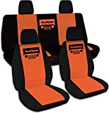 2011-2017 Jeep Wrangler JK Two-Tone Grill Seat Covers w Your Name/Text: Black & Orange - Full Set: Front & Rear (21 Colors) 2012 2013 2014 2015 2016 2-Door/4-Door Complete Back Solid/Split Bench