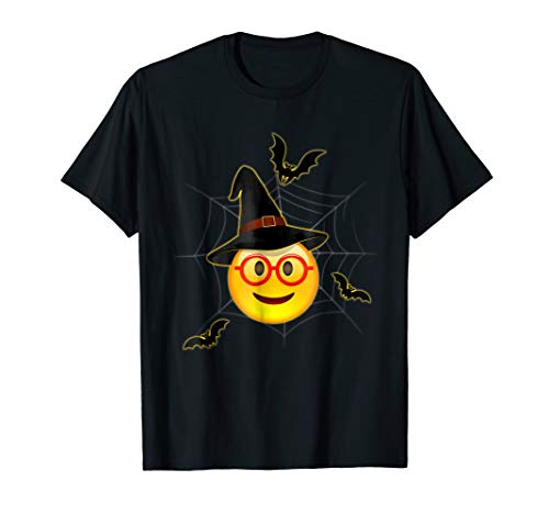 Funny Halloween Emoji Witch Nerd Face T-Shirt ()