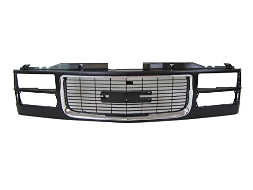 94-02 Gmc Pickup (Old Style) / 94-99 Gmc Suburban / 94-99 Gmc Yukon (Composite Type) Grille Material Black with Chrome Molding GM1200392 (C1500 Gmc Grille Suburban)