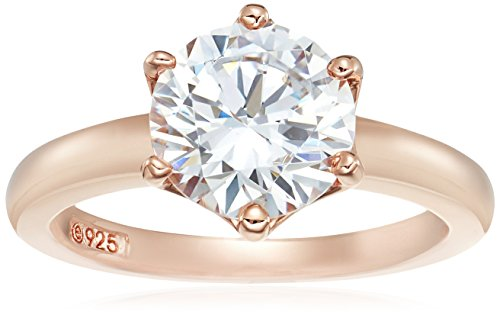 Rose Gold Sterling Silver Swarovski Zirconia Round Solitaire Ring, Size 7