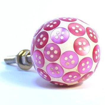 baby pink button resin spotty cupboard door knob childrens bedroom