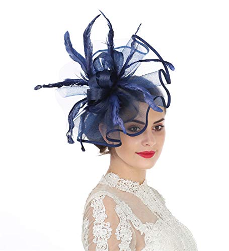 Lucky Leaf Women Girl Fascinators Hair Clip Hairpin Hat Feather Cocktail Wedding Tea Party Hat (5-Navy)]()