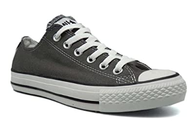 Converse Chuck Taylor All Star Seasonal Ox Men Round Toe Canvas Gray Sneakers (8.5 D(M), Charcoal)