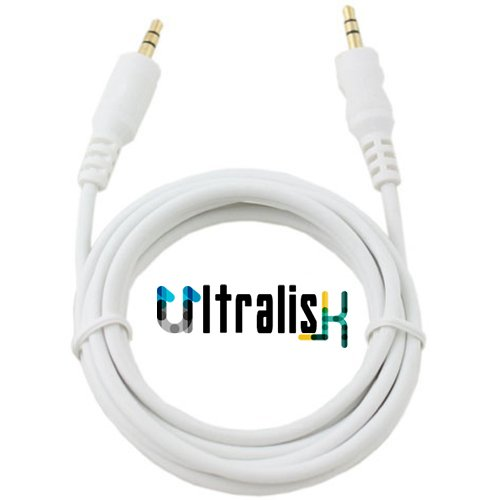 Ultralisk 3.5mm Male to Male Audio Cable (1.5m) [ Made In India ] AUX Cable for Headphones, iPods, iPhones, iPads, Home / Car Stereos and More (White)