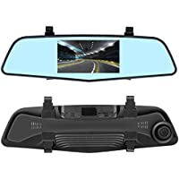 EHOOM Car Rear View HD Mirror Camera A2, 4.3 Touch Screen 1080HD, 4-Lane 140°Wide-Angle View Lens, Car DVR with G-Sensor, Parking Monitor, WDR, Loop Recording
