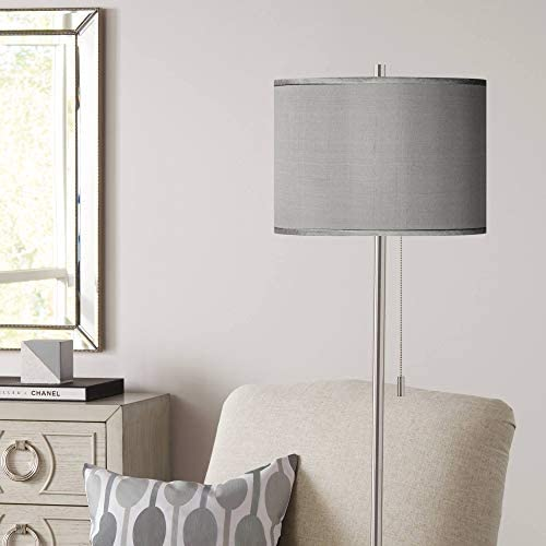 Modern Floor Lamp Brushed Nickel Hand Assembled Gray Faux Silk Drum Shade