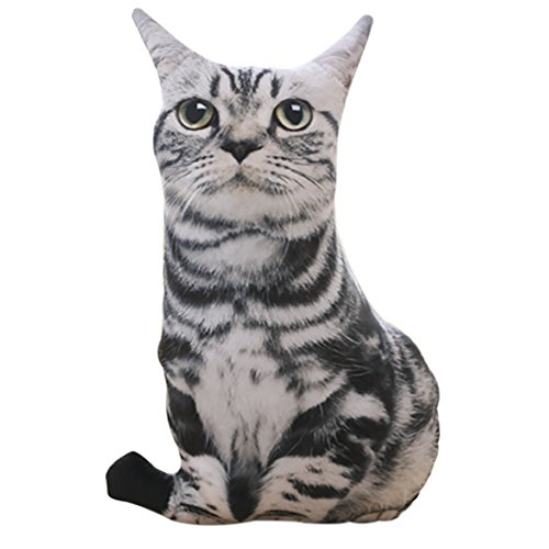 ChezMax Cute 3D Stuffed Plush Black and White Cat Shape Pillow Insert Filler Filling Throw Pillow Plush Play Toy Doll Decoration Soft Cushion (Pillow Doll China)