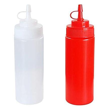 Generic blanco: 16oz plástico Squeeze botella condimento dispensador Salsa Vinagre Aceite Ketchup Servicio de mesa