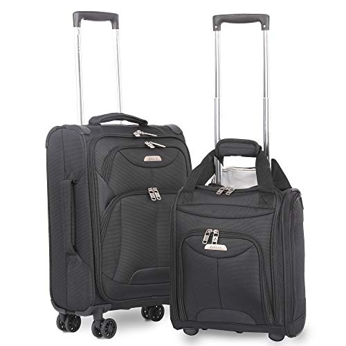 "(Aerolite 21"" Inch Carry On Lightweight 4 Wheel Spinner Suitcase & 16"" Under Seat Bag Set (Black))"