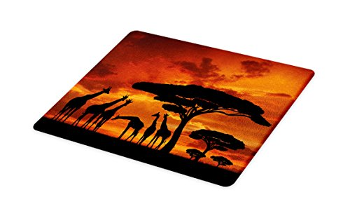 Lunarable Africa Cutting Board, Safari Animal with Giraffe Crew with Majestic Tree at Sunrise in Kenya, Decorative Tempered Glass Cutting and Serving Board, Large Size, Orange Black