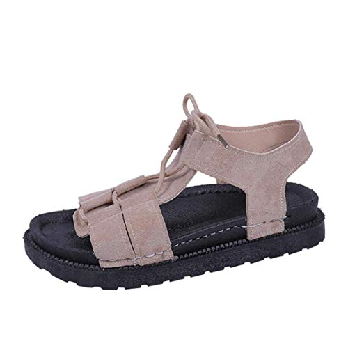 4 4 4 Casual Donna Tonda Punta Punta Punta Liquidazione Flatform Beach Tied Shoes Gladiator 5 Solid UK ZHRUI Cachi Cross Colore Dimensione Sandals Nero aEwgxqx