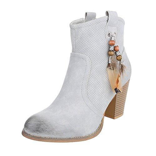 Ital-Design - Botas De Vaquero Mujer gris claro