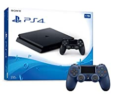 Playstation 4 1TB Slim Console and Extra Midnight Blue Dualshock 4 Wireless Controller Bundle
