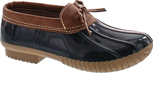 AXNY Dylan-10 Women's Two Tone Bow Accents Slip-On Rain Loafer Flat Duck Shoes,Navy,7.5