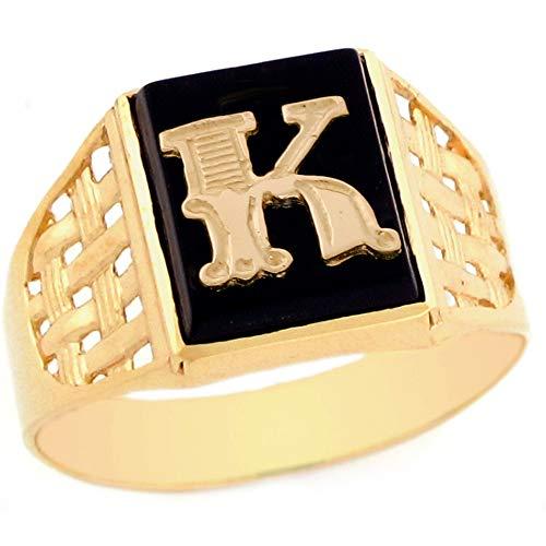 14k Yellow Gold Bold Black Onyx Mens Elegant Basket Weave Initial Letter K Ring - Size 8 - Mens Black Onyx Initial Ring