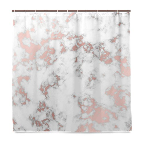 (ALAZA Rose Gold Marble Shower Curtain Waterproof Polyester Bath Curtian With Hooks 72x72 Inch)
