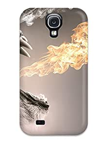 Slim Fit Tpu Protector Shock Absorbent Bumper Roaring Flames Case For Galaxy S4