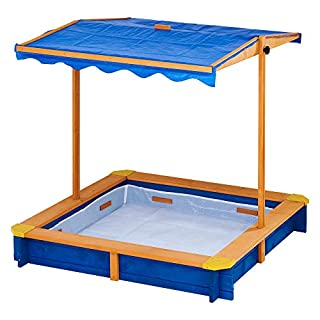 Teamson Kids - Wooden Outdoor Sandbox w/Convertible Canopy Children Outdoor Playset for Backyard Home Lawn Garden Beach Large Sand Box w/Height Adjustable & Rotatable Canopy - Blue