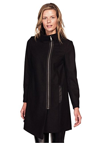 Ellos Women's Plus Size Asymmetrical Zip Wool Blend Coat Black,22