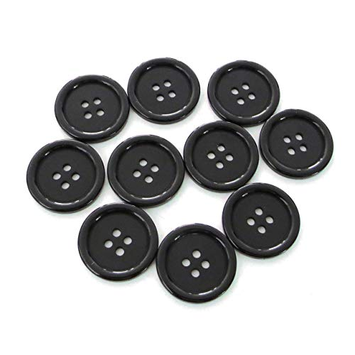 "Buttons 1 inch (1"") - for Sewing or Crafts - 4 Hole - White Black Clear - Replacement Button -Perfect for Crafts, Coats, Shirts, Pants, Shorts, Cardigans, Blazers, Skirts -10 Piece Pack - (Black)"
