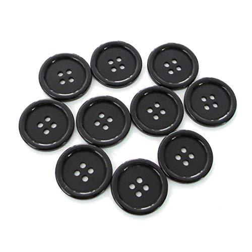 Seeking ROAM Buttons 4 Hole, 1 Inch, Resin, 10 Pieces, Black (Black)