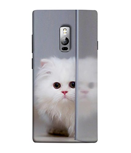 printvisa designer premium back cover for oneplus 2, oneplus two, one plus 2  cat hearts flowers gifts colors    Multi Coloured