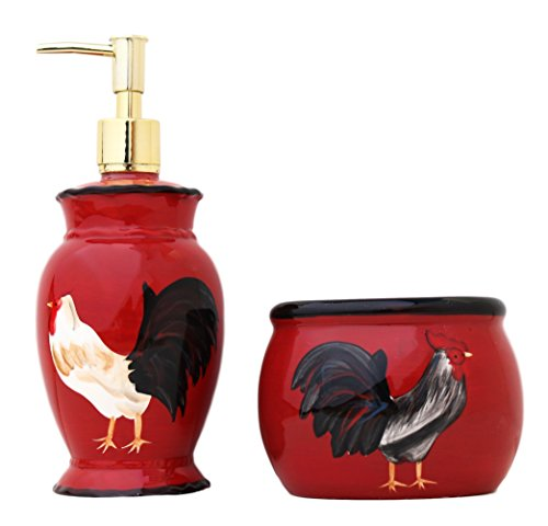 Tuscany Colorful Hand Painted Fleur De Lis Burnt Orange Loton Dispencer and bar of soap holder , 86788/89 by -