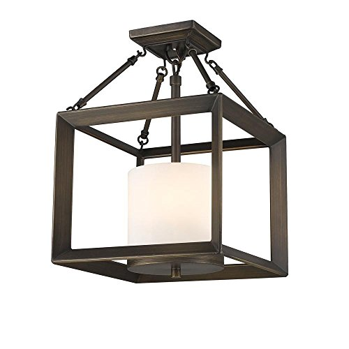 Golden Lighting 2073-SF GMT-OP Smyth - Three Light Convertible Semi-Flush Mount, Gunmetal Bronze Finish with Opal Glass - Convertible Semi Flush 3 Light