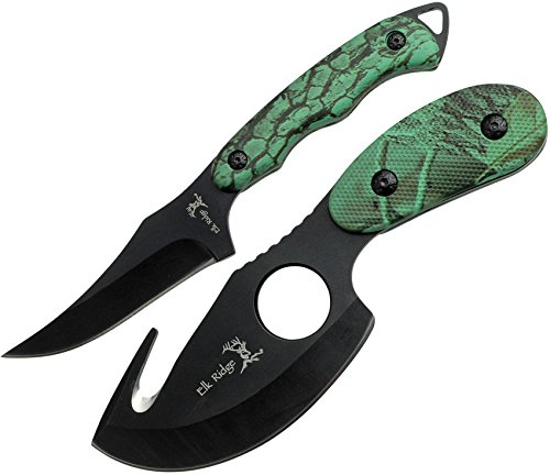Elk Ridge - Outdoors 2-PC Fixed Blade Hunting Knife Set - Black Stainless Steel Skinner and Gut Hook Blades, Camo Coated Nylon Fiber Handles, Nylon Sheath - Hunting, Camping, Survival - ER-300CA from Elk Ridge
