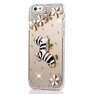 """Semoss Transparente 3D Bling Cristal Cebra Funda de Diamante Carcasa Case Para 2015 Apple iPhone 6S Plus (5.5"""") Flor Plastico Rigido Piel Cover"""