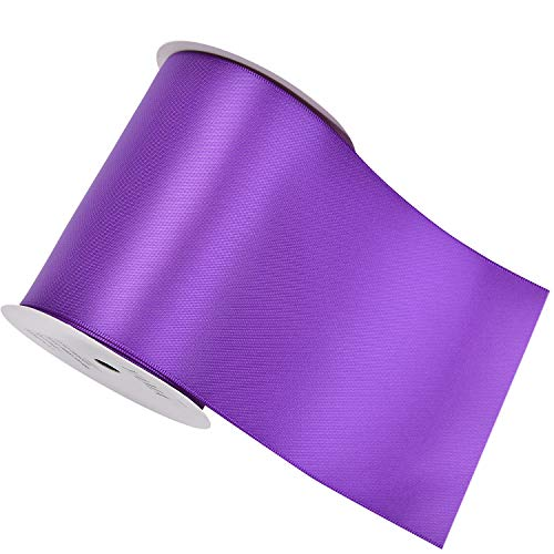 YAMA Double Face Satin Ribbon Roll - 4 inch Wide Solid Color Craft Ribbon, Great for Chair Sash- 5 Yard/Spool, Purple