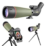 Gosky 2019 Updated Newest Spotting Scope with Tripod, Carrying Bag - Waterproof BAK4 Angled Scope for Target Shooting Hunting Bird Watching Wildlife Scenery (20-60x80 Scope+Phone Mount)