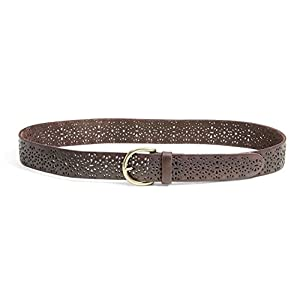 "Lucky Brand - Women's 1.5"" Lomita Perforated Tooled Brown Leather Belt (Large)"
