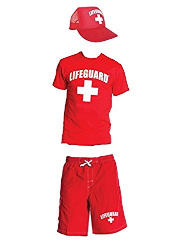 LIFEGUARD Men's Authentic Combo Pack t-Shirt Shorts and Mesh hat (Medium) Red -