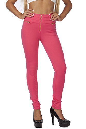 Hollywood Star Fashion Women's Elastic Waist Zipper Embellished High Waisted Leggings (Large, Pink) - Hollywood Waist Pants