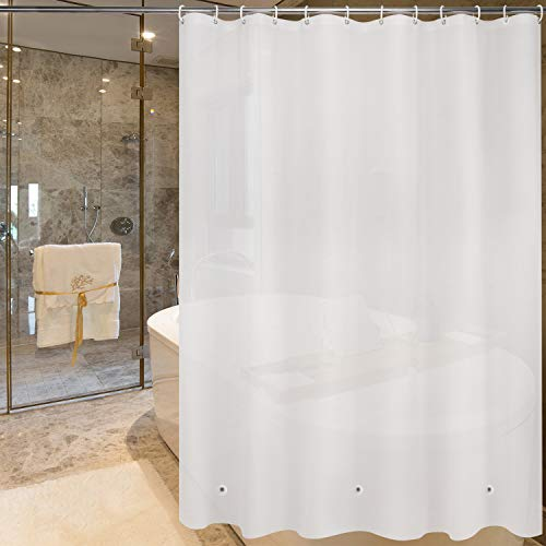 (WELTRXE Shower Curtain Liner PEVA 8G Heavy Duty Frosted Bathroom Shower Curtains with Magnets No Smell Waterproof Shower Liner for Bathtubs, Shower Stall, Bathrooms, 72 x 72 in, 12 Hooks)