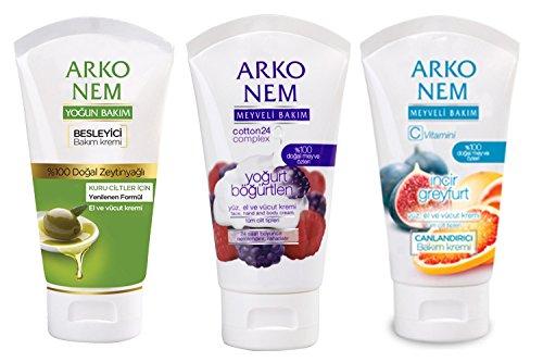 Black Olive Cream - Arko Nem Face with Hand and Body Cream, Blackberry Yogurt/Fig/Olive Oil/Grape Fruit, 1.50 Ounce