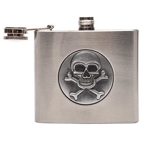 Flask-for-Men-Stainless-Steel-Hip-Flask-Designer-Flask-for-Liquor-Unique-and-Nice-for-Trip-or-Weekends-Perfect-Gift-for-men-women-5-oz-Skull