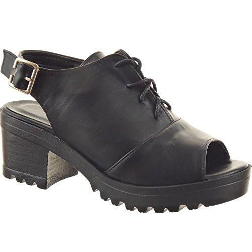 Sopily - Zapatillas de Moda Sandalias Zapato acento Zapatillas de plataforma Tobillo mujer Hebilla Talón Tacón ancho alto 6.5 CM - Negro