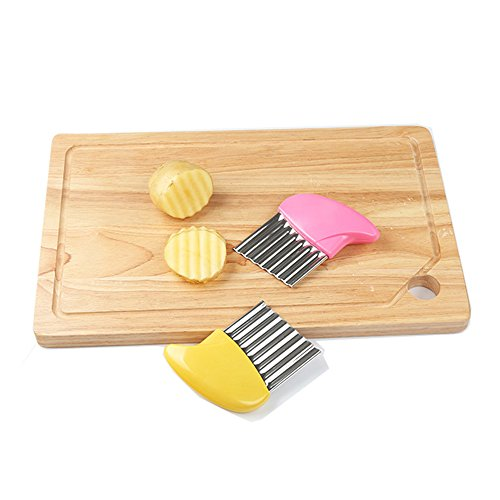 New-Hi Crinkle Cut Knife, Stainless Steel French Fries Cutter Fruit And Vegetable Wavy Chopper Knife Cutter Potato Chips Chipper Slicer-Pink by New-Hi (Image #2)
