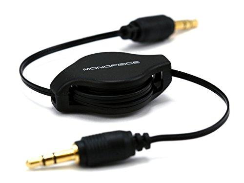 Monoprice 106753 2.5-Feet Retractable Audio Cable - Black Jack Retractable Audio