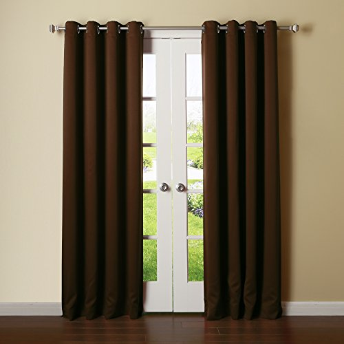 Pink Velvet Drapery Panels (Best Home Fashion Thermal Insulated Blackout Curtains - Stainless Steel Nickel Grommet Top - Chocolate - 52