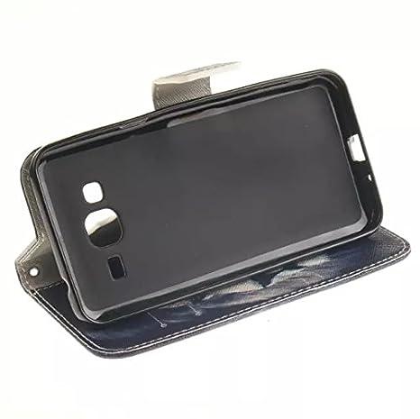 Coque pour Samsung Galaxy Core2 G355H,Housse en cuir pour Galaxy Core2 G355H,Ecoway Colorful imprim/é /étui en cuir PU Cuir Flip Magn/étique Portefeuille Etui Housse de Protection Coque /Étui Case Cover avec Stand Support Avec des C