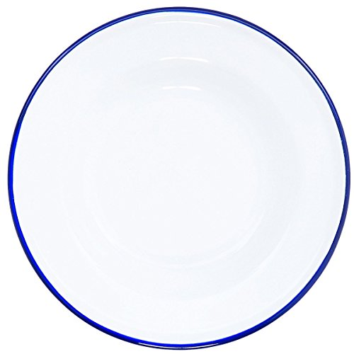 Crow Canyon Enamelware - Raised Salad Plate - Solid White with Blue ()