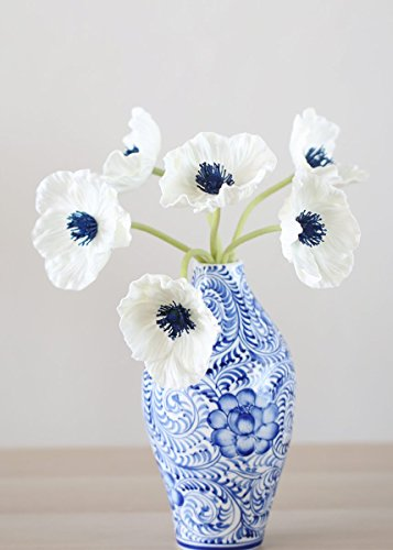 Center Navy (Afloral White Real Touch Poppy Bundle with Navy Center - 12