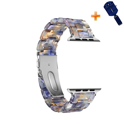 Cywulin Resin Band Compatible with Apple Watch 38mm 42mm 40mm 44mm iWatch Series 4 3 2 1 Fashion Replacement Wristband Link Strap Bracelet Women Men with Stainless Steel Metal Buckle (38mm/40mm, I) ()