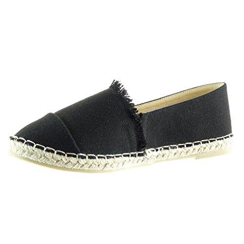 Angkorly - Chaussure Mode Espadrille Mocassin slip-on femme tréssé corde Talon bloc 1 CM - Noir