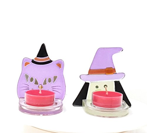 Halloween Witch and Cat Tea Light Pair Decoration by PartyLite ()