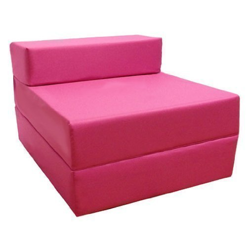 Comfortable Fold Out Z Bed Chair in Pink. Soft, Comfortable & Lightweight with a Removeable Waterproof Cover. Available in 10 Colours. Ready Steady Bed